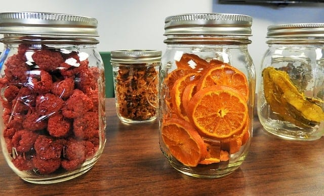 dehydrated food in jars