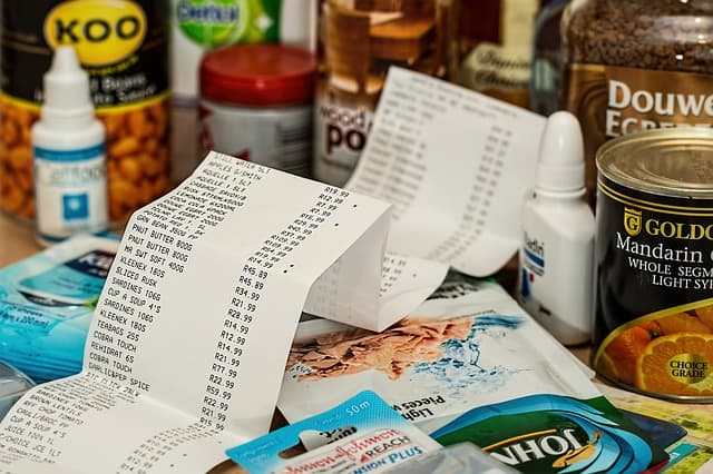 receipt laying on groceries