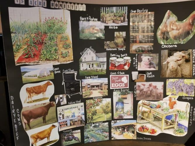 vision board-writing homestead goals