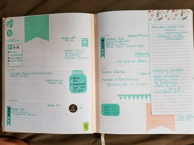 homestead planner weekly spread