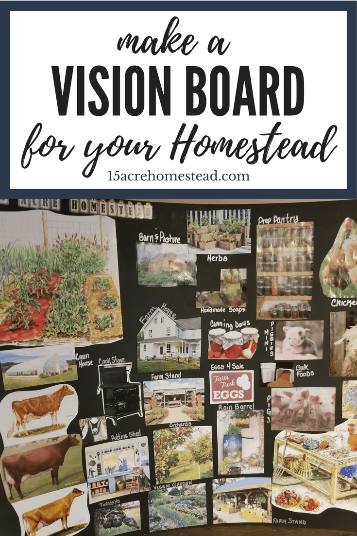 Make a vision board for your homestead to give yourself a visual of the dreams and goals you set for your homesteading journey.