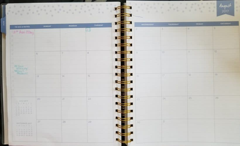 Homestead Planning monthly spread before