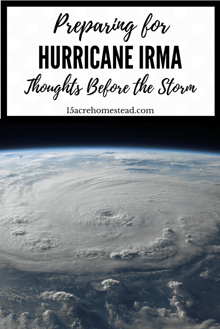 Preparing for a hurricane like Irma is scary. It makes one appreciate the less materialistic things in our lives.