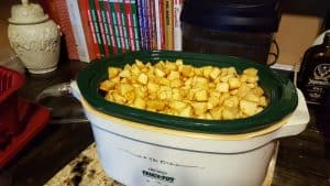 cut up apples in crockpot