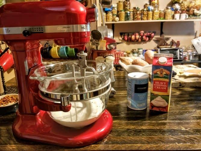 homemade butter in mixer