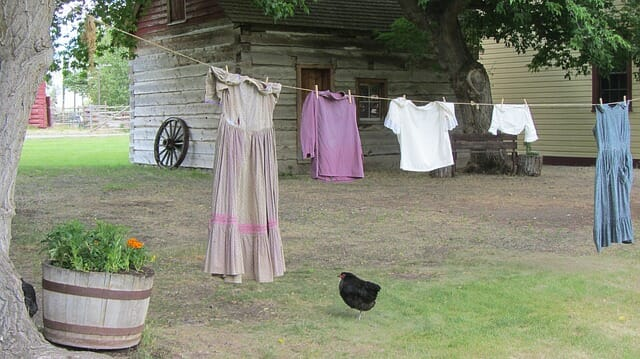 Clotheslines are a popular way to be more frugal on the homestead. Frugality is one of ten practical skills you should learn before embarking on your homestead journey. Learn other ways to be frugal and nine more necessary skills here.