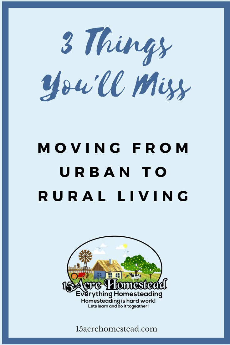 3 things you'll miss when moving from urban to rural living as you begin your journey homesteading.