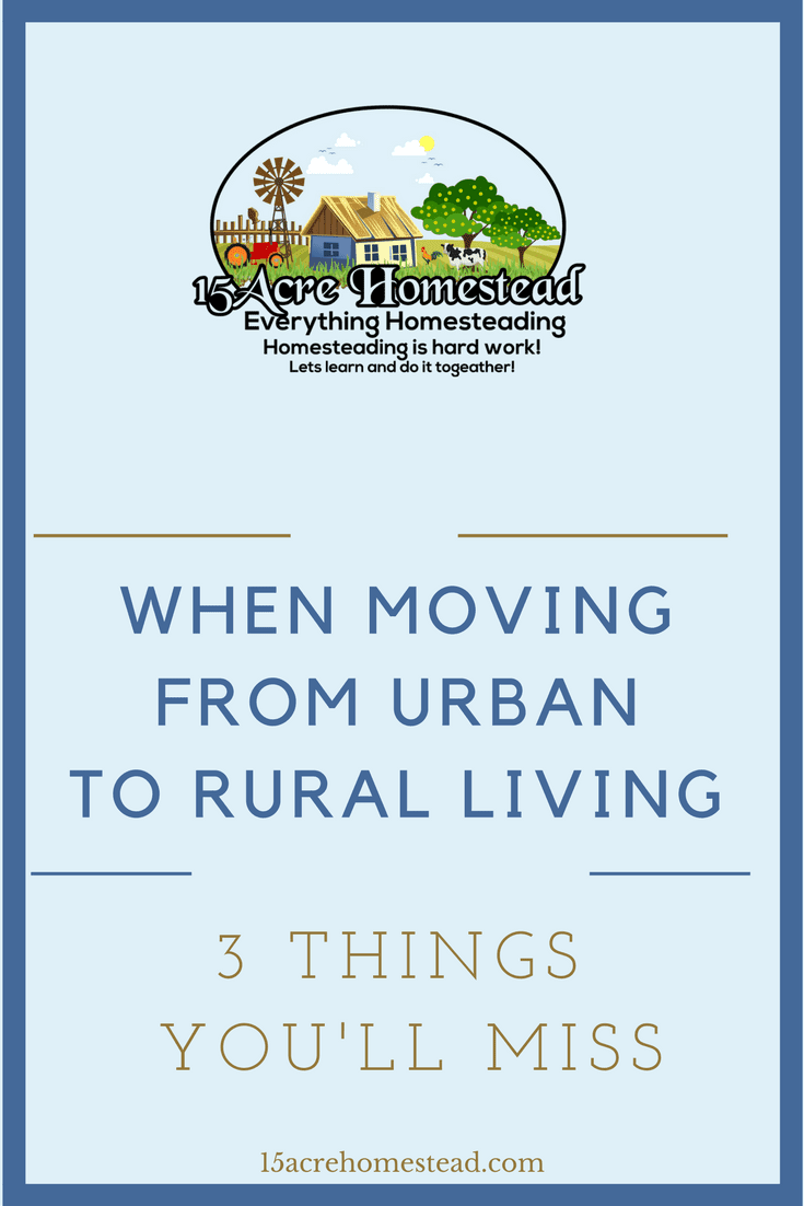 When moving from urban to rural living there are 3 things you'll miss. Read on to find out what they are before you start your homesteading journey.