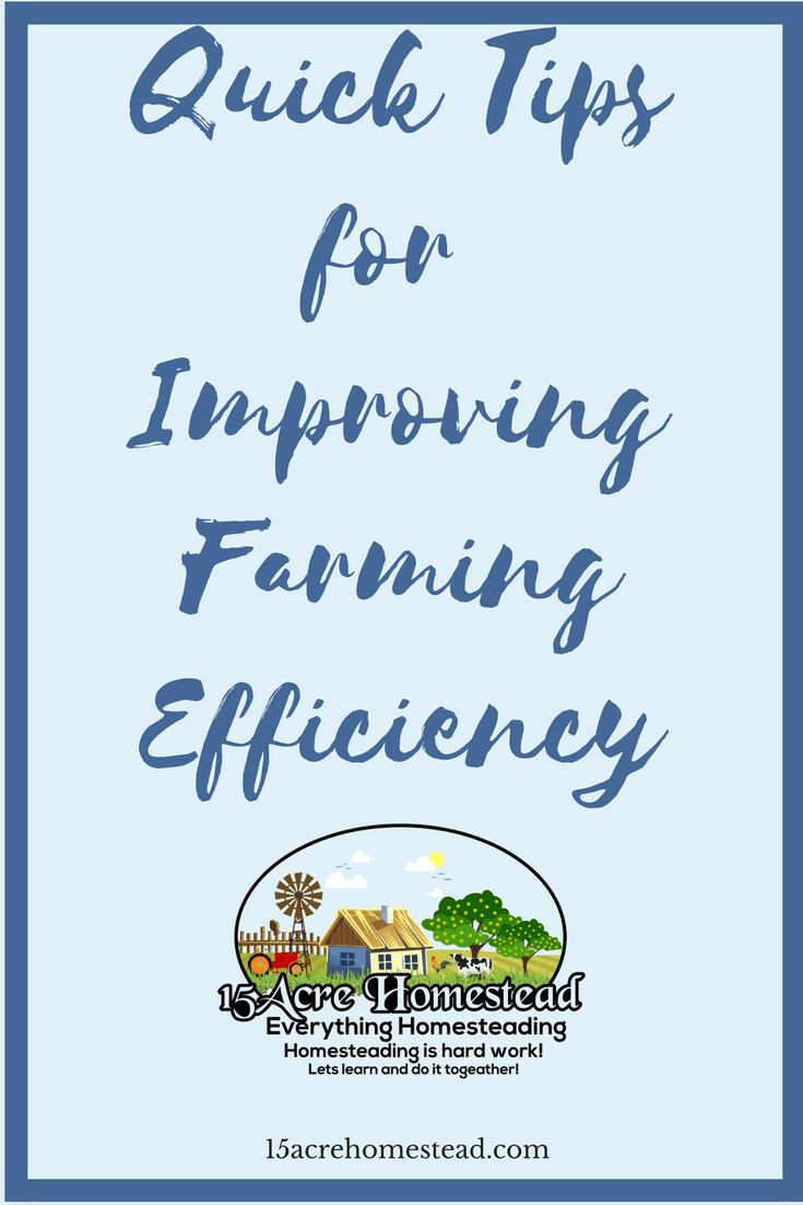 Here are many tips to help you with improving farming efficiency on your farm or homestead.