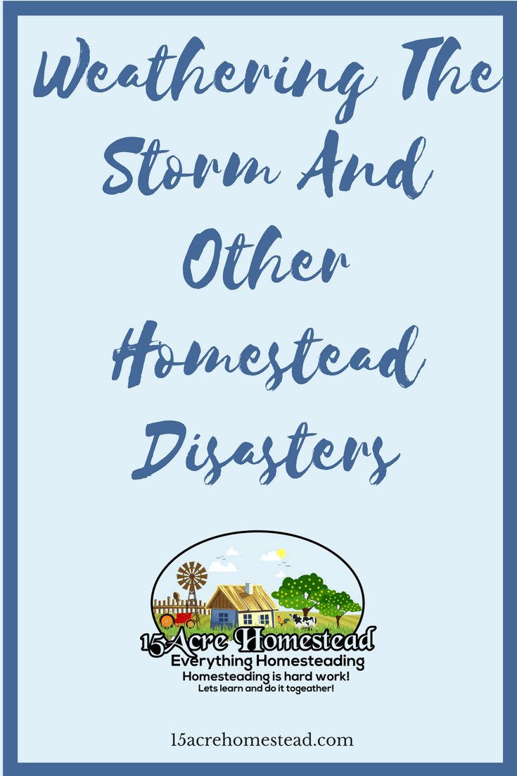 Homestead disasters are possible when you are homesteading. Taking precautions and being prepared can help curb the stress related to these disasters.