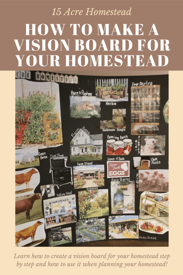Learn how to create an amazing vision board for your homestead. Step by step directions to help you create a customized visual plan for all of your homesteading dreams.