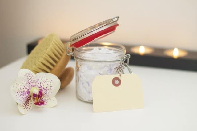 bath brush and bath salts