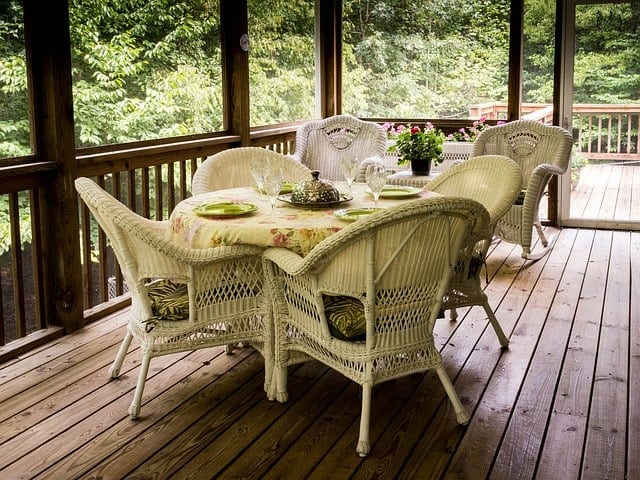 porch with wicker seating