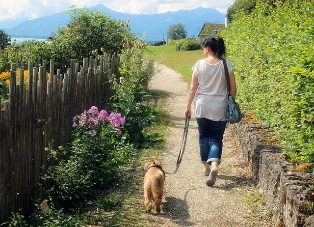 woman walking her dog outside on leash