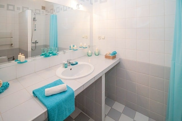 bathroom with bright blue accents