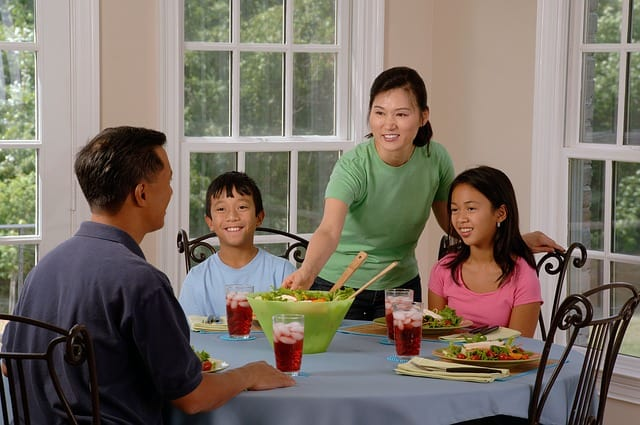 Family eating at the diinner table