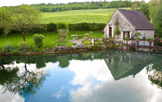 small cottage on the water