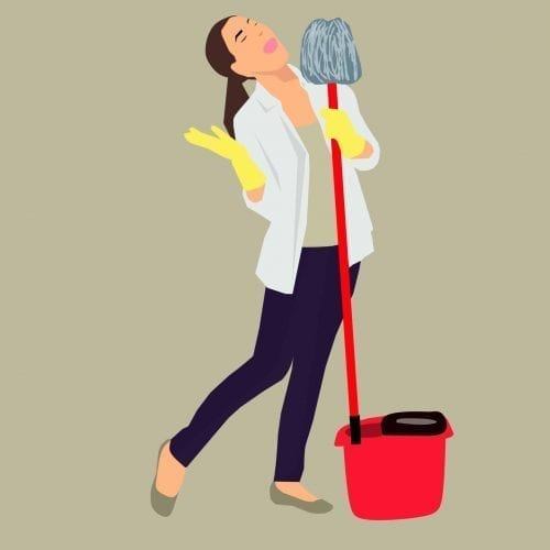 Cartoon of woman singing while cleaning