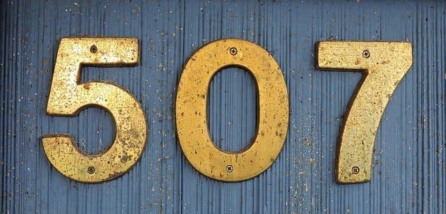 house numbers in gold