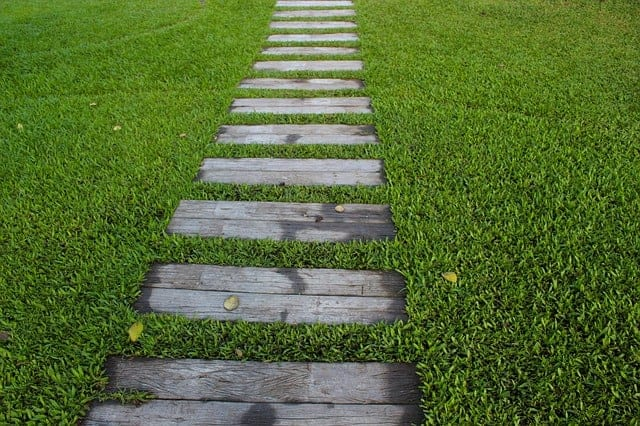 lawn with wooden pavers
