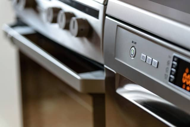 Close up of an electric oven.
