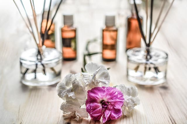 aromatherapy oils and scents on table