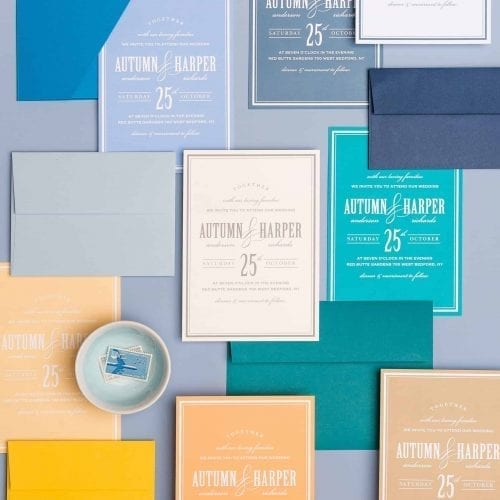 Wedding invitation with colored envelopes to match