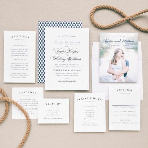 beautiful wedding invitations with matching cards.