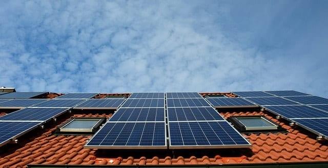 solar panels on tiled roof