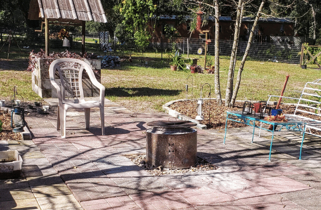 fire pit and wishing well