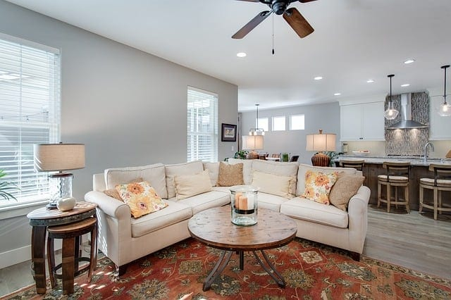 Bright living room with couch as the focal point.