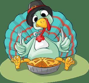 THanksgiving Turkey eating pie