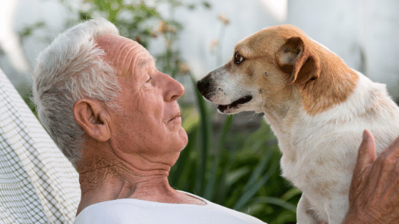 Dog and an older man