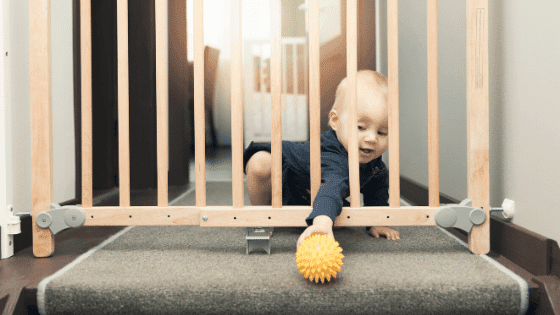 A kid-friendly home should have a baby gate for small children's protection.