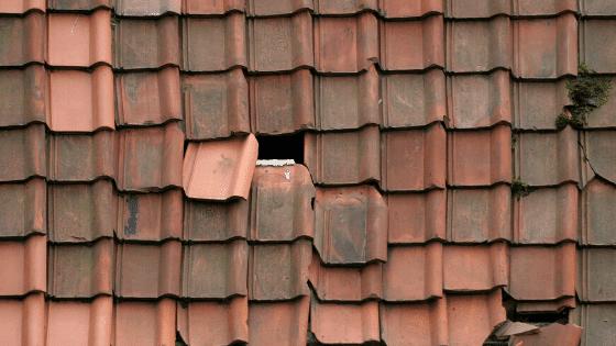 broken tiles on roof