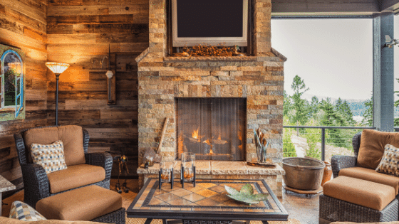 A fireplace can bring enjoyment through the temperature of a room.