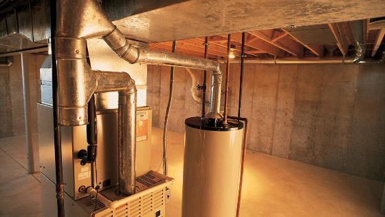 furnace in a basement