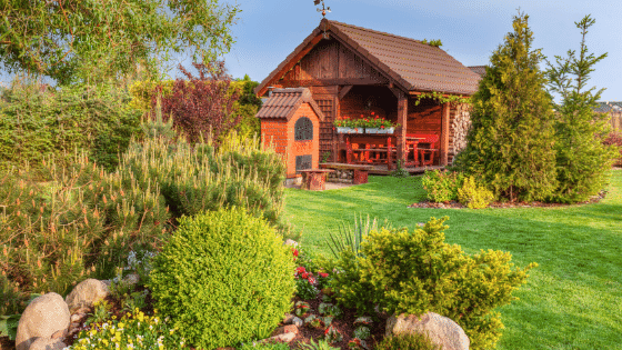 Use various sized treed and plants when you design your landscaping.