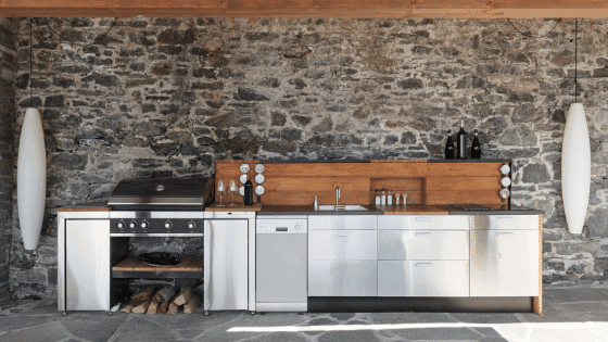 An outdor kitchen is a great way to bring the outdoors in.