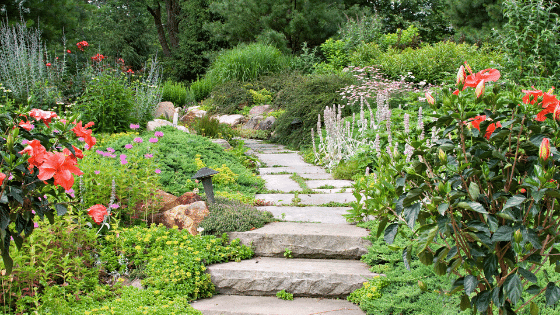 Large rocks used in a garden path is a way to reimagine your landscape design.