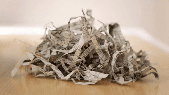 Shredded newspaper is used for bedding