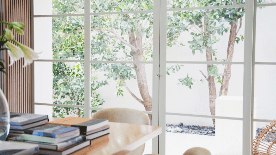 Having a lot of glass windows can add life to your home.