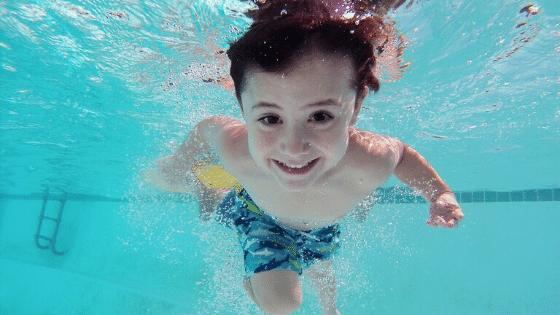 A kid swimming