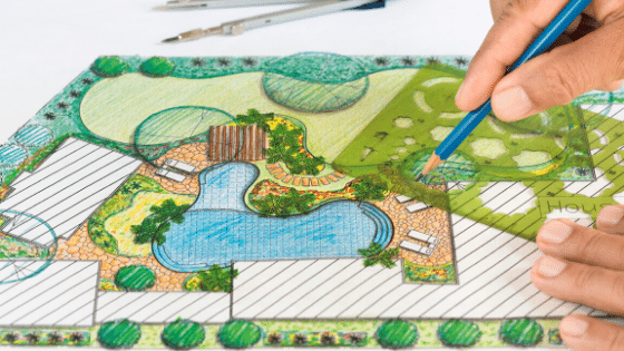 Using a landscaping plan.