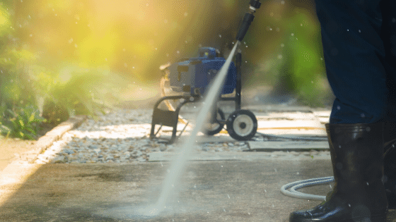 pressure washing your walkway is a great way to spring clean your yard