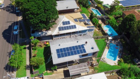 An environmentally friendly home has solar panels.