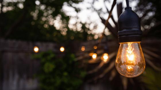 Edison bulbs on strings make good patio lighting