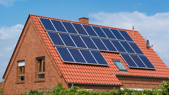 Solar panels on a roof for living off the land