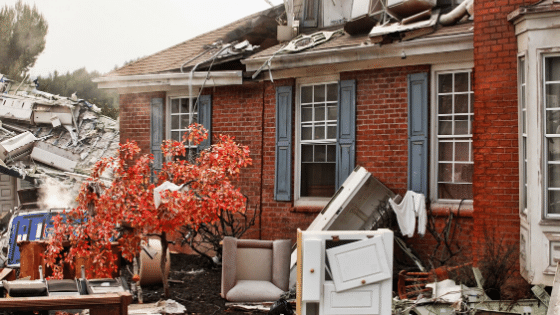 A home after a disaster