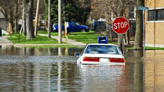 Water damaged car